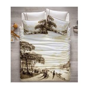 Lenjerie de pat cu cearșaf din satin Uskudar, 200 x 220 cm