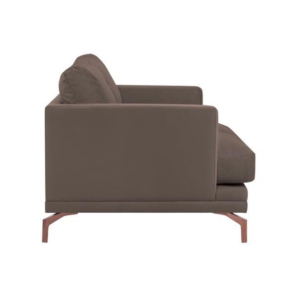 Hnědá dvojmístná pohovka s podnožím ve zlaté barvě Windsor & Co Sofas Jupiter