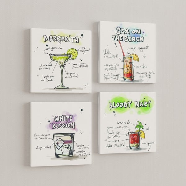 Sada 4 obrazů Drinky