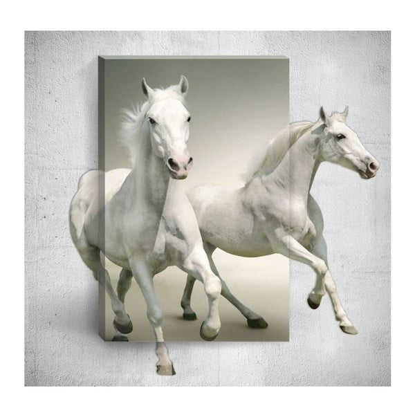 Nástěnný 3D obraz Mosticx White Horses, 40 x 60 cm