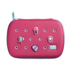 Růžový penál se 4 ozdobnými odznáčky TINC Buds