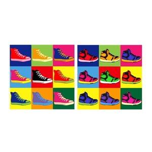 Set obrazů na skle Tenisky, 20x20 cm, 2 ks