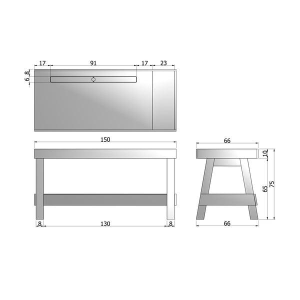Pracovní stůl Grooving, bílý