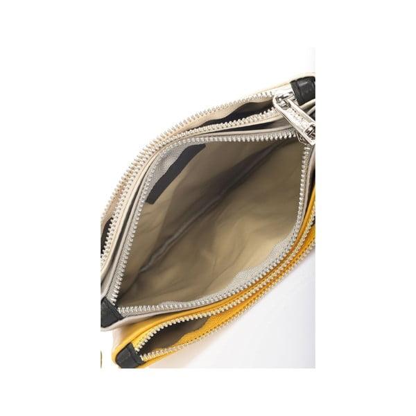Kožená kabelka Krole Kody se třemi kapsičkami, žlutá