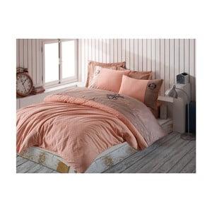 Lenjerie din bumbac satinat pentru pat dublu Soft, 200x220cm