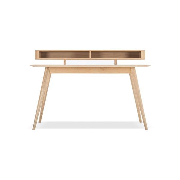 Pracovný stôl z masívneho dubového dreva s policou Gazzda Stafa