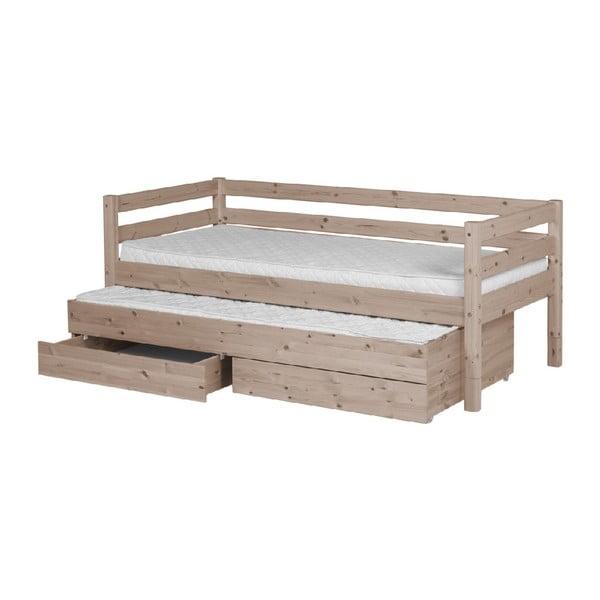 Hnědá dětská postel z borovicového dřeva s výsuvným lůžkem a 2 zásuvkami Flexa Classic, 90x200cm