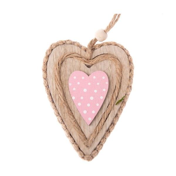 Růžové dřevěné dekorativní závěsné srdce Dakls Pink Heart