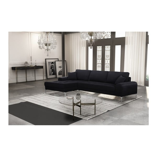 Set canapea neagră cu șezlong pe partea stângă, 4 scaune crem și saltea 160 x 200 cm Home Essentials