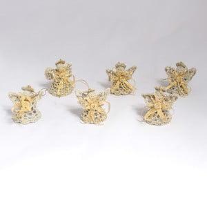 Textilní závěsné dekorace zlatí andílci, 6 ks