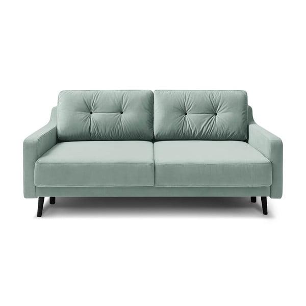 Jasna turkusowozielona aksamitna rozkładana sofa 3-osobowa Bobochic Paris Torp