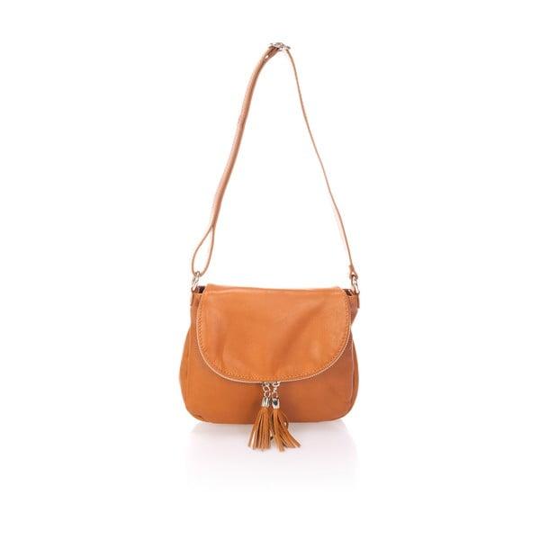 Světle hnědá kožená kabelka s třásněmi Giulia Massari Sauvage