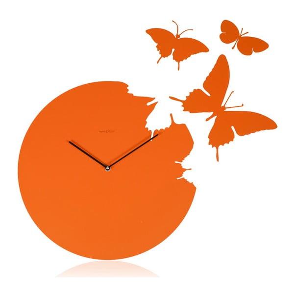 Designové hodiny Butterfly Orange, 40 cm