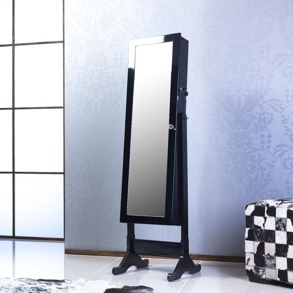Uzamykatelné stojací zrcadlo se šperkovnicí Scarlet, černé