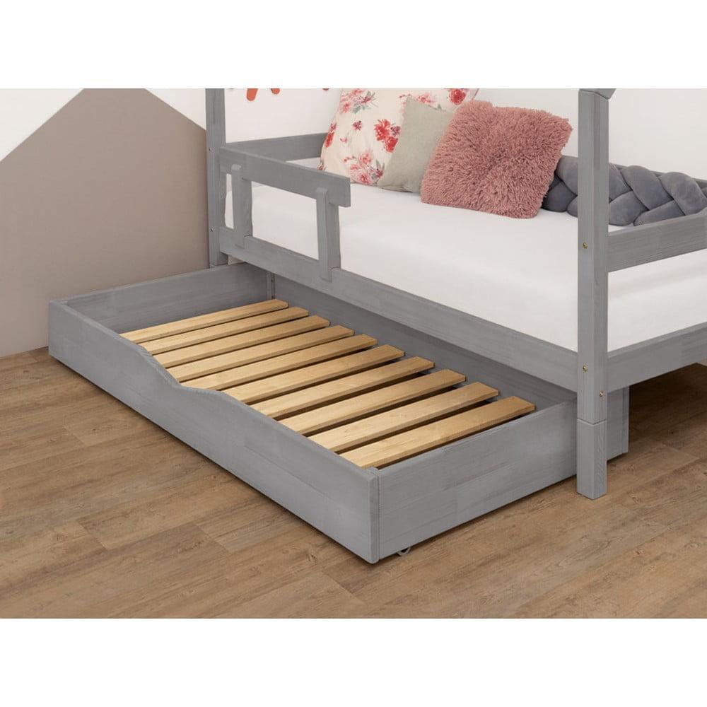 Šedý dřevěný šuplík pod postel s roštem a plným dnem Benlemi Buddy, 90 x 140 cm