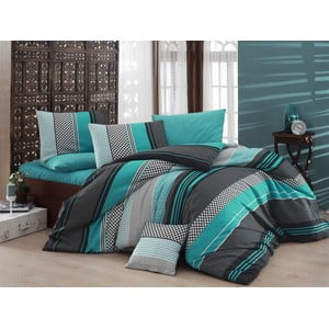 Lenjerie de pat cu cearșaf Zigo, Turquoise, 200 x 220 cm