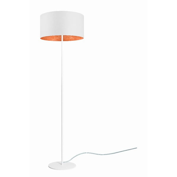Bílá stojací lampa sdetailem vměděné barvě Sotto Luce Mika, ⌀40 cm