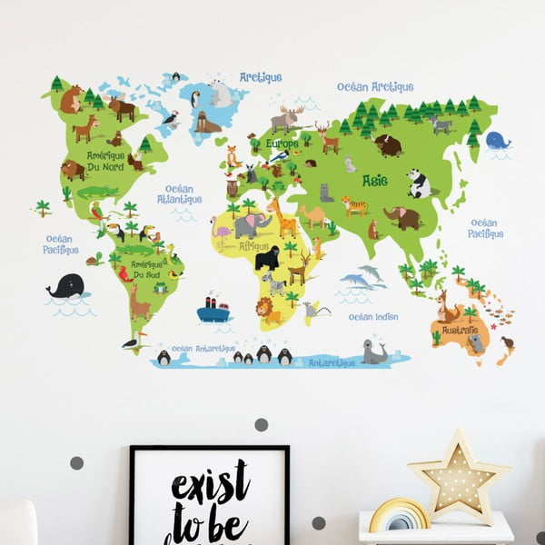 Autocolant de perete Ambiance Childrens World Map