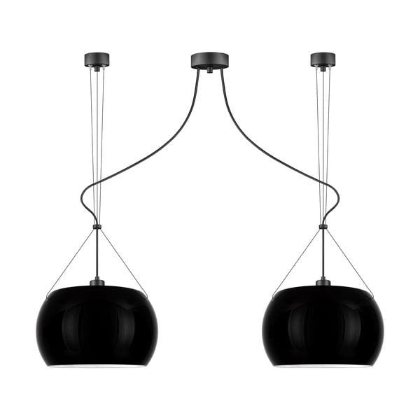 Černé lesklé závěsné svítidlo se 2 svítidly Sotto Luce MYOO Elementary