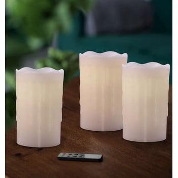 Set 3 lumânări cu LED și telecomandă DecoKing Subtle Glamour, înălțime 12,5 cm imagine