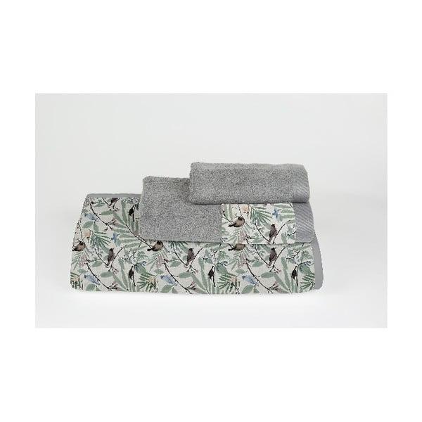 Komplet 3 ręczników z bawełny i mikrowłókna Surdic Tropical Parrots