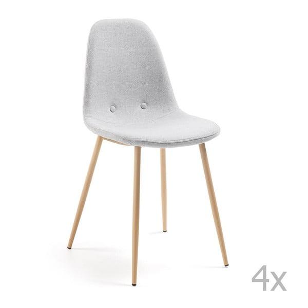 Sada 4 světle šedých jídelních židlí La Forma Lissy