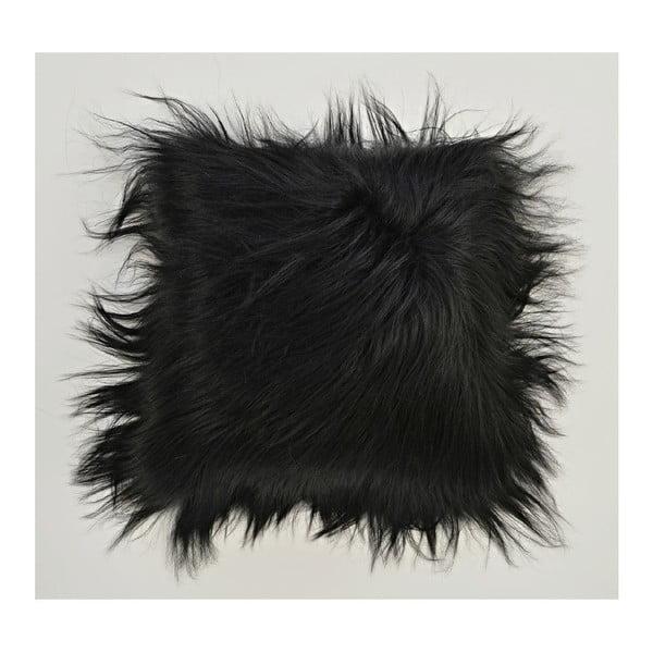 Kožešinový polštář s dlouhým chlupem Blacky, 35x35 cm