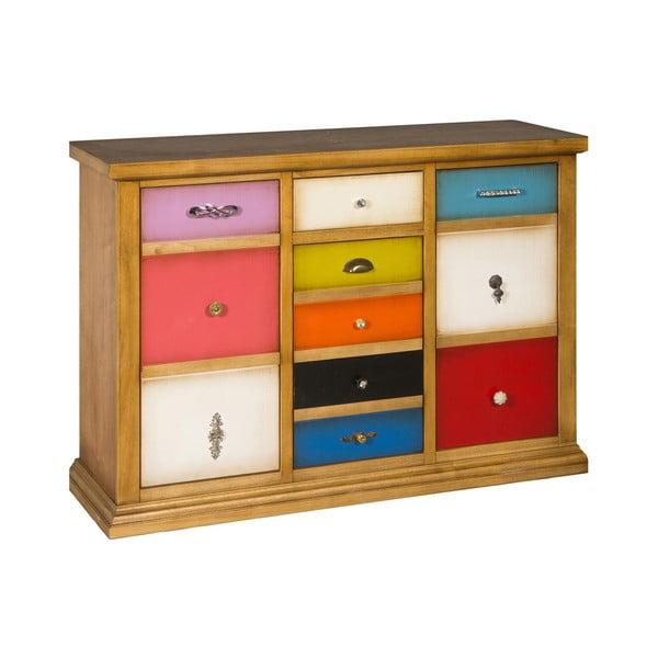 Brązowa komoda z kolorowymi szufladami Evergreen House Serial