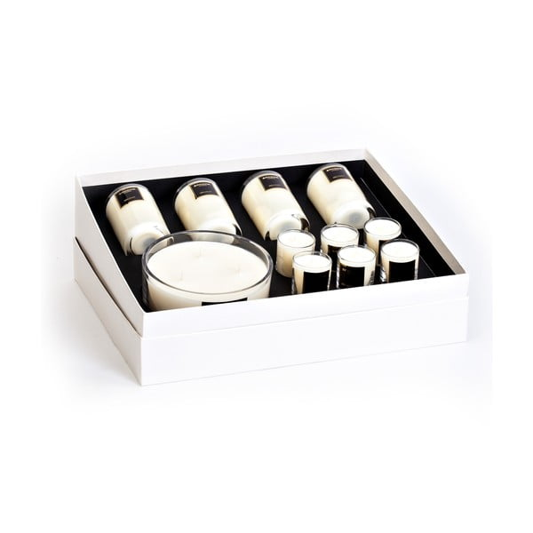 Set cadou 11 lumânări cu aromă de vanilie si boabe de tonka Bahoma London Romance, 30 ore de ardere