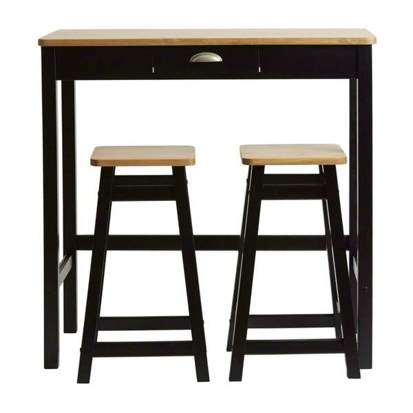Czarny stolik barowy z 2 hokerami z litego drewna sosnowego Marckeric Caya