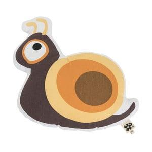 Dětský hnědý polštář s potiskem Sebra Snail