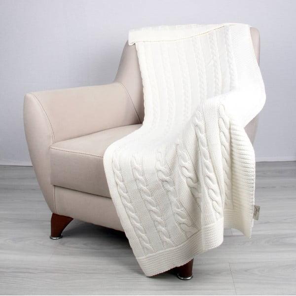 Svetlobéžová bavlnená prikrývka Carla, 170×130cm