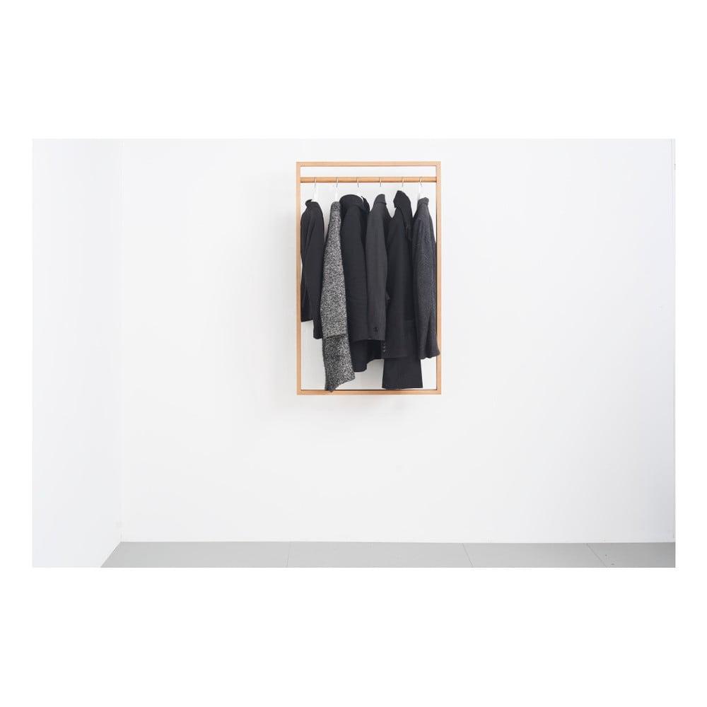 Věšáková stěna z dubového dřeva das kleine b Gardero, 74 x 126 cm