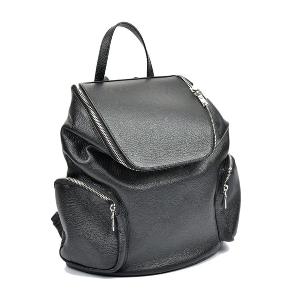 Černý kožený batoh Luisa Vannini Kuhma