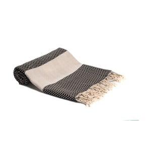 Černobílá ručně tkaná osuška Ivy's Asli, 95x180cm