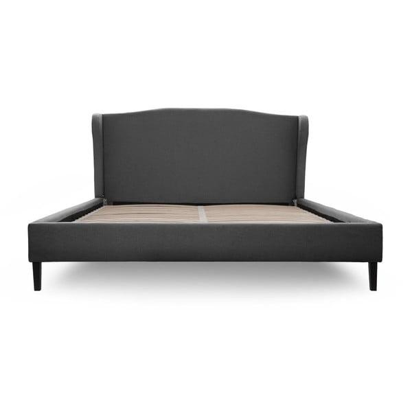 Tmavě šedá postel s černými nohami Vivonita Windsor, 160x200cm