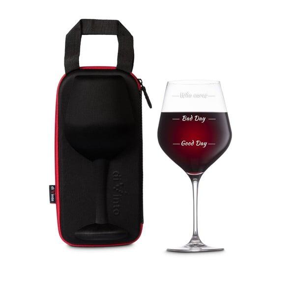 Pahar din sticlă pentru vin cu husă Gift Republic Who cares?
