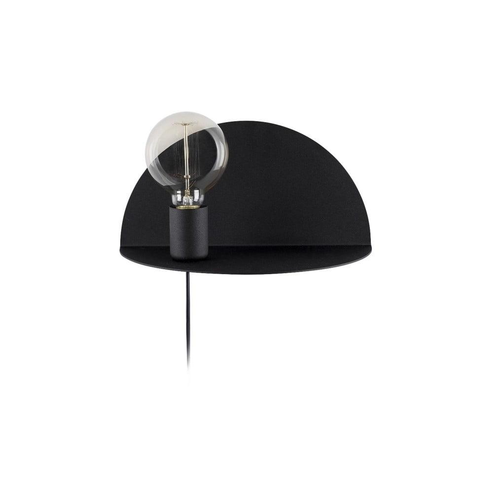 Produktové foto Černá nástěnná lampa s poličkou Shelfie, výška 15 cm