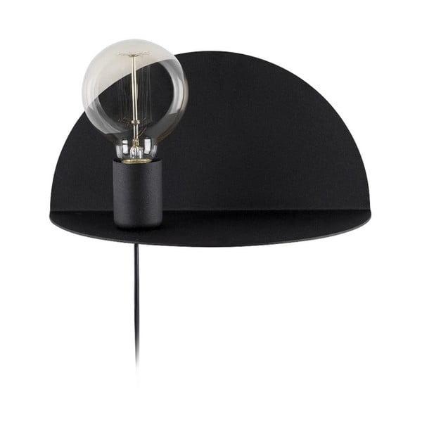 Černá nástěnná lampa s poličkou Shelfie, výška 15 cm