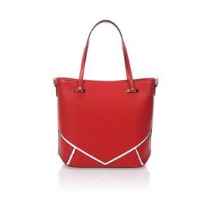 Červená kožená kabelka Markese Loyd