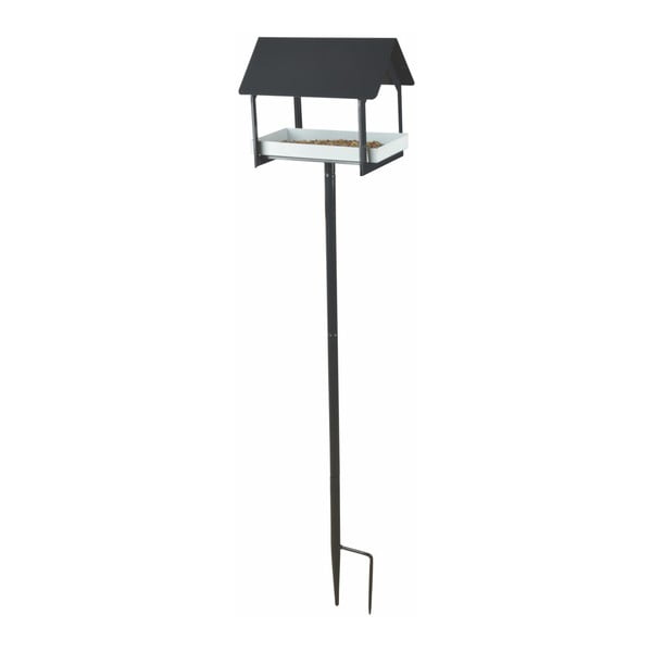 Antracitová kovová ptačí budka se zápichem Esschert Design, výška126cm