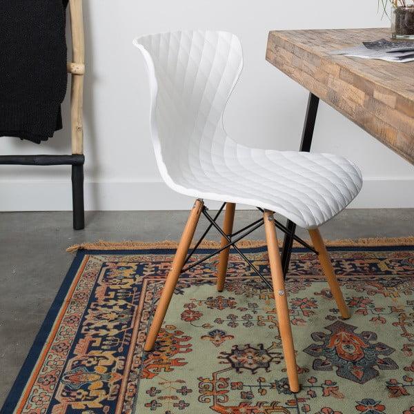 Sada 2 bílých židlí s bukovým podnožím White Label Crow