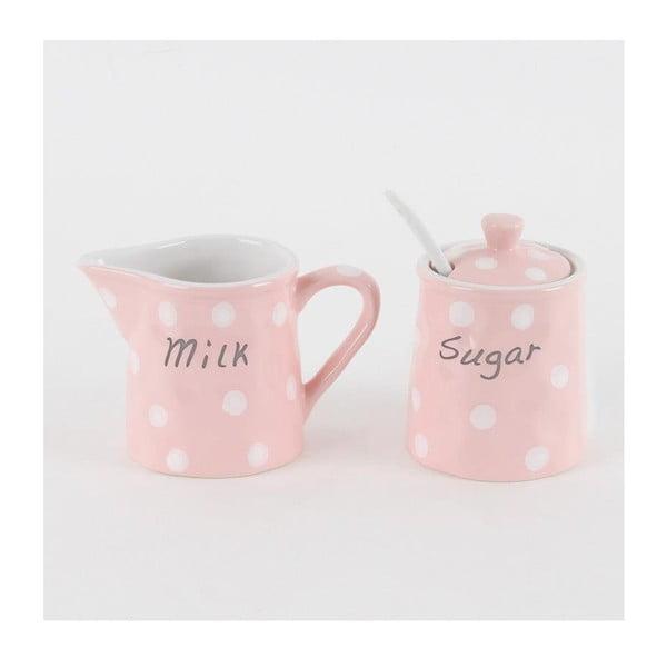 Sada cukřenky a mléčenky Růžové puntíky