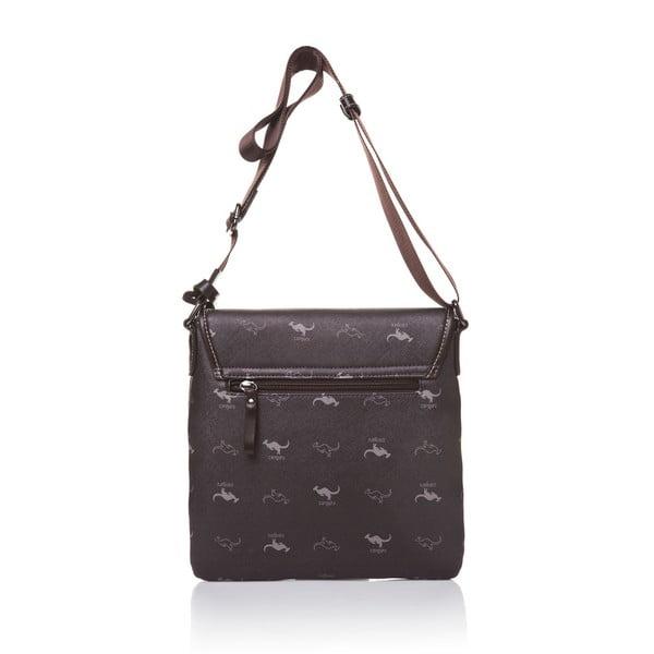 Kožená kabelka s dlouhým popruhem Canguru Louis, hnědá