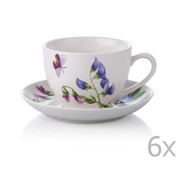 Zestaw 6 filiżanek porcelanowych do herbaty ze spodkami Rodianos