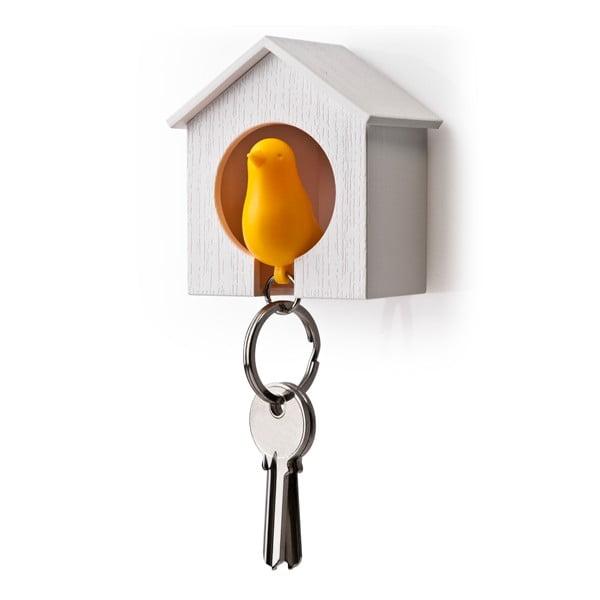 Budka s klíčenkou QUALY Sparrow, bílá budka/oranžový ptáček