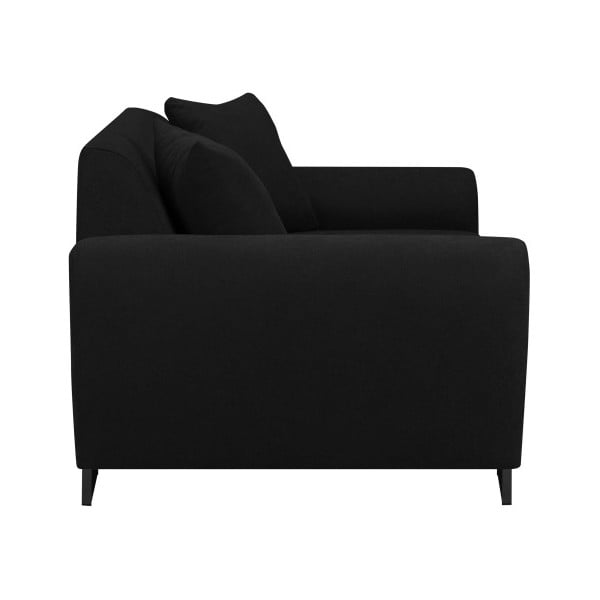 Černá trojmístná pohovka s černými nohami Kooko Home Piano