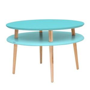 Tyrkysový konferenční stolek s přírodními nohami Ragaba UFO, Ø70cm