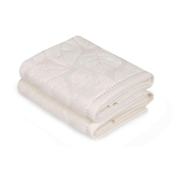 Zestaw 2 kremowych ręczników Madame Coco, 50x90 m