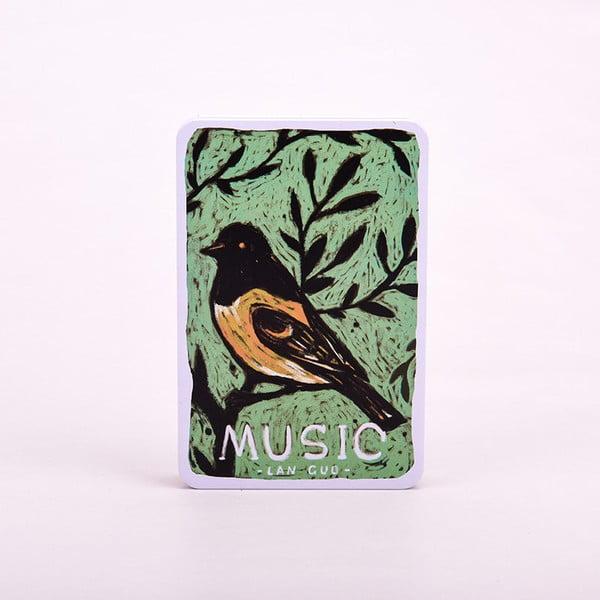 Plechový zápisník Music, modrý ptáček